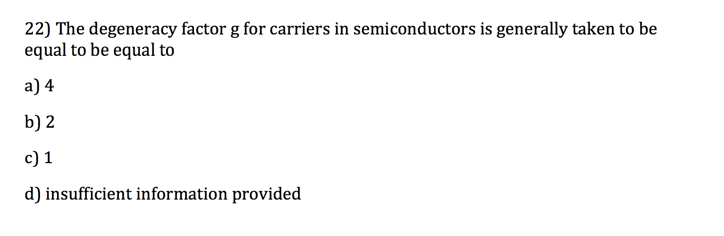 The degeneracy factor g for carriers in semiconduc
