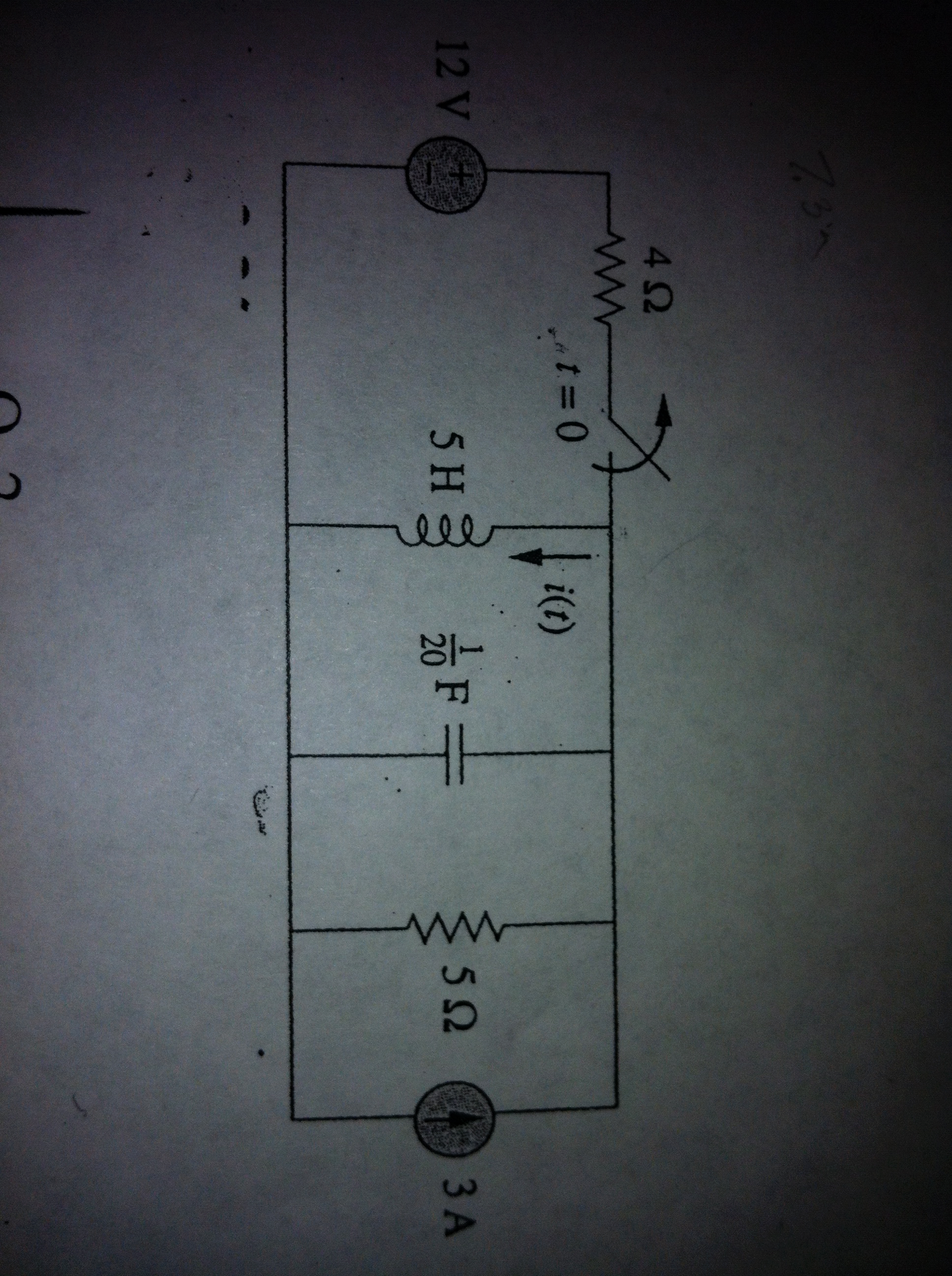 For the circuit shown ,find i(t) for t>0. Switc