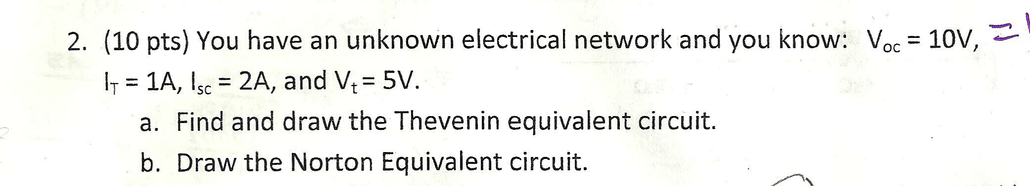 You have an unknown electrical network and you kno