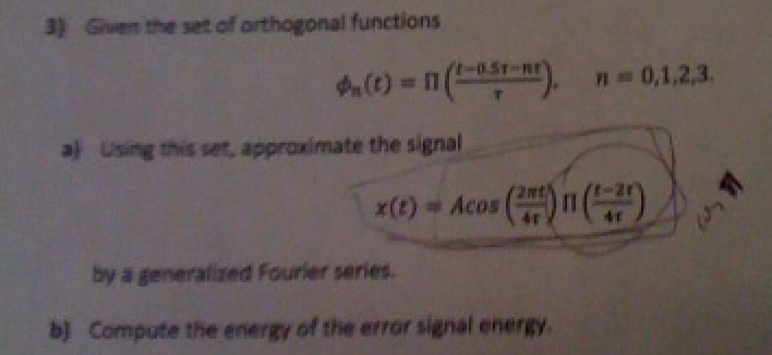 Given the set of orthogonal functions Using this