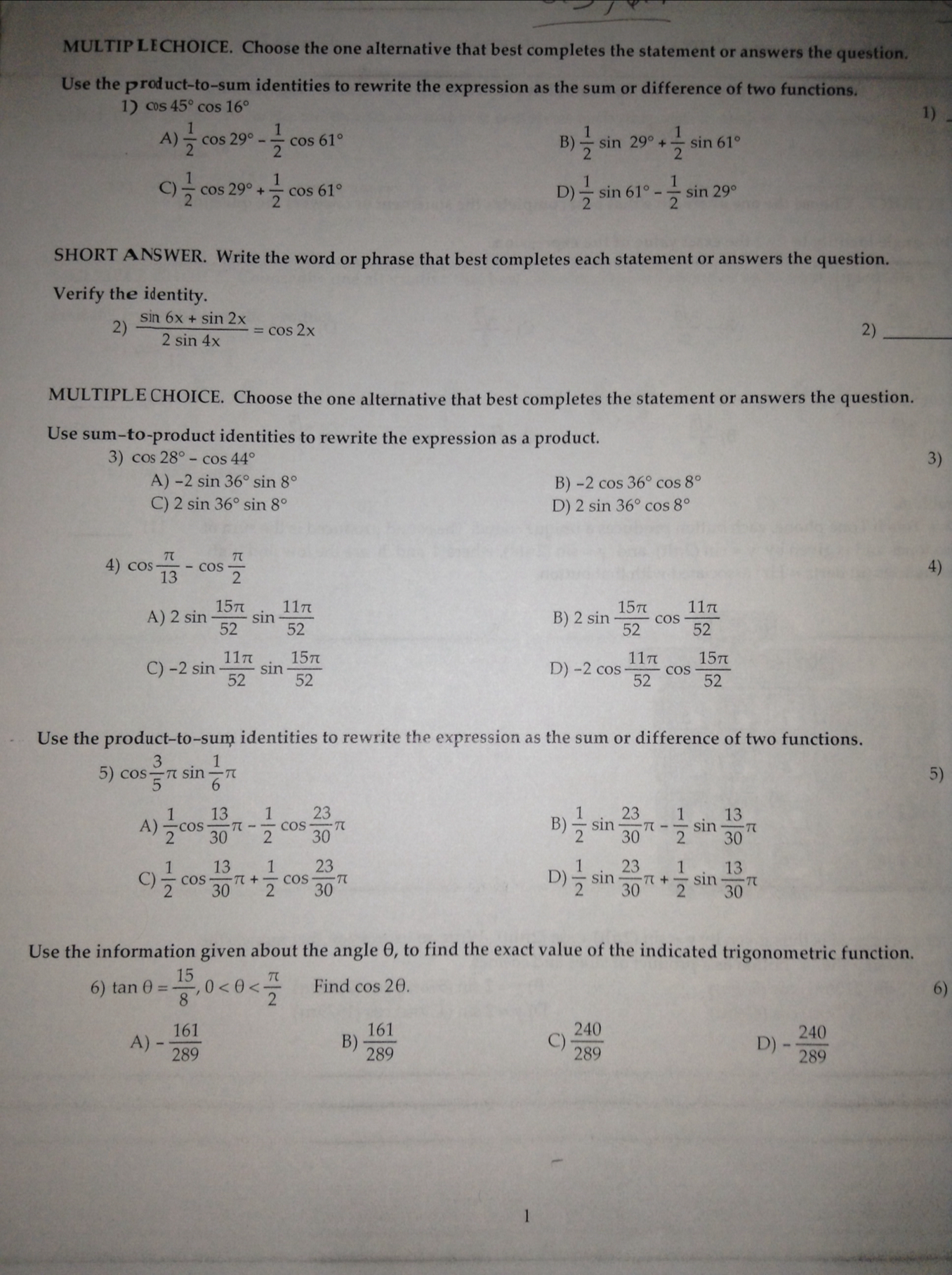 Precalculus Homework Help: Answers & Questions