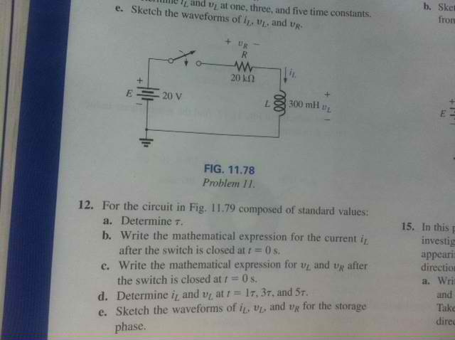 For the circuit in Fig.11.81: Write the mathemati
