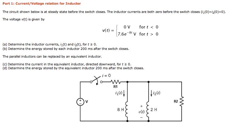 Current/Voltage relation for Inductor The circuit