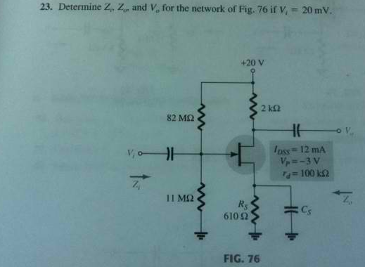 Determine Zj, Zo, and Vo for the network of Fig. 7