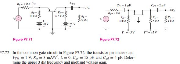 In the common-gate circuit in Figure P7.72, the