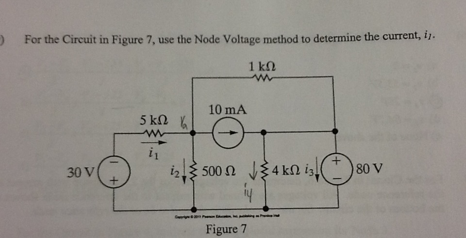 For the circuit in Figure 7, use the Node Voltage