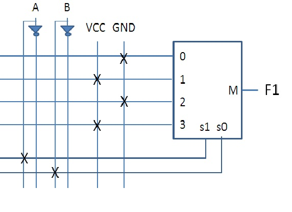 4. Below shows a circuit connected using a 4:1 MUX