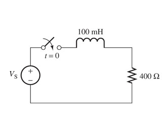 Vs = 10V. Assume that the switch is closed at t =