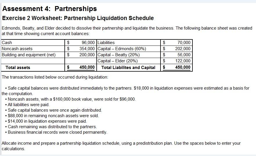 Partnership liquidating distribution cash