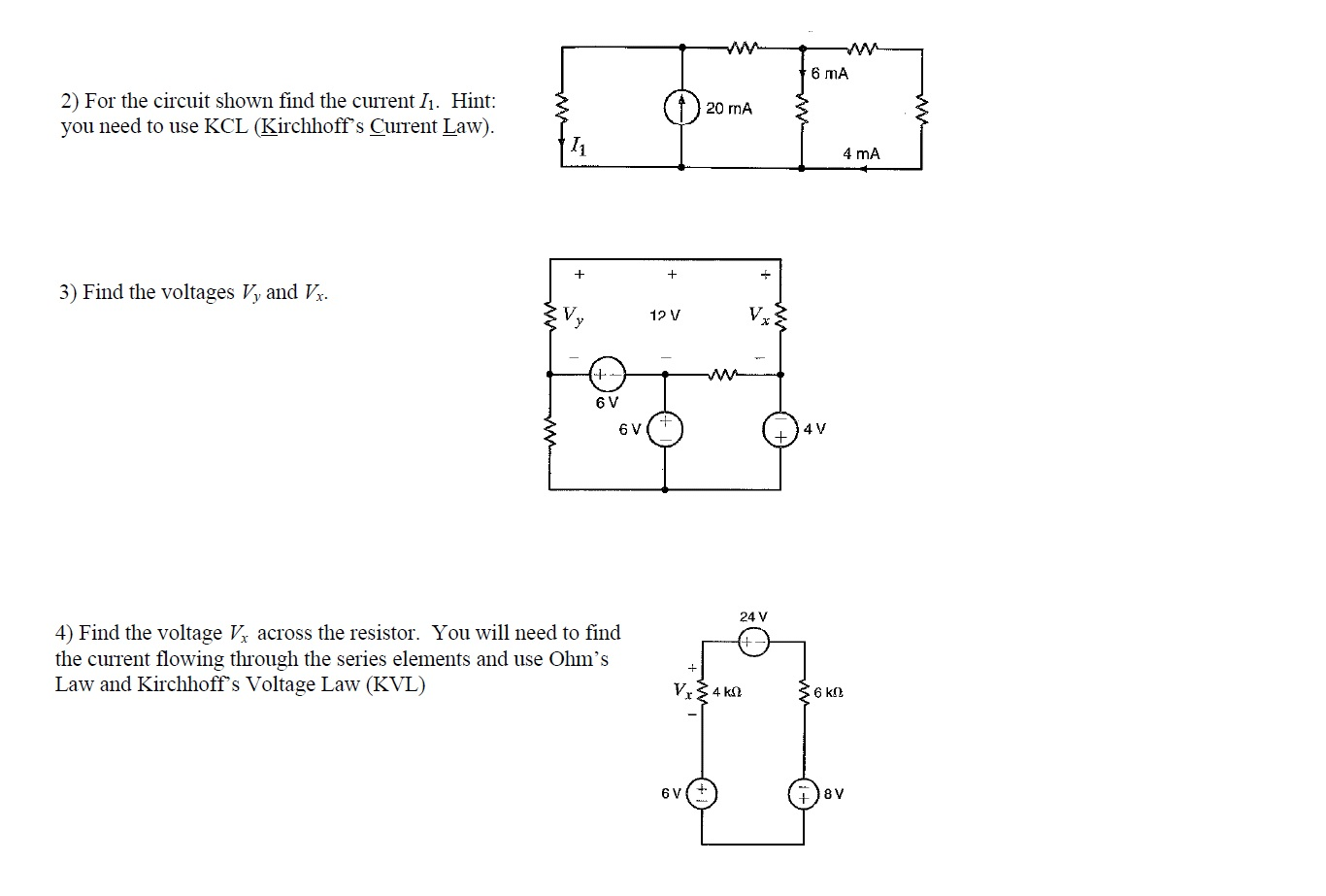 For the circuit shown find the current I1. Hint: y