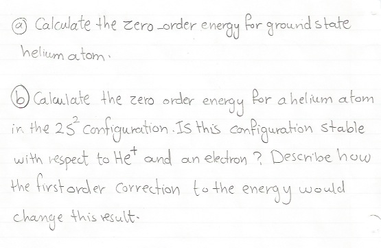 Calculate the zero-order energy for ground state h