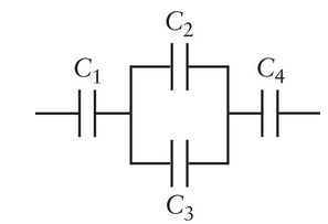 What is the equivalent capacitance of the four cap