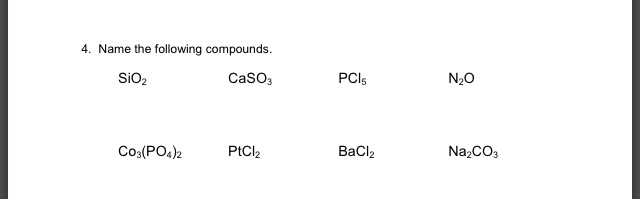 Name the following compounds. SiO2 CaSO3 PCI5