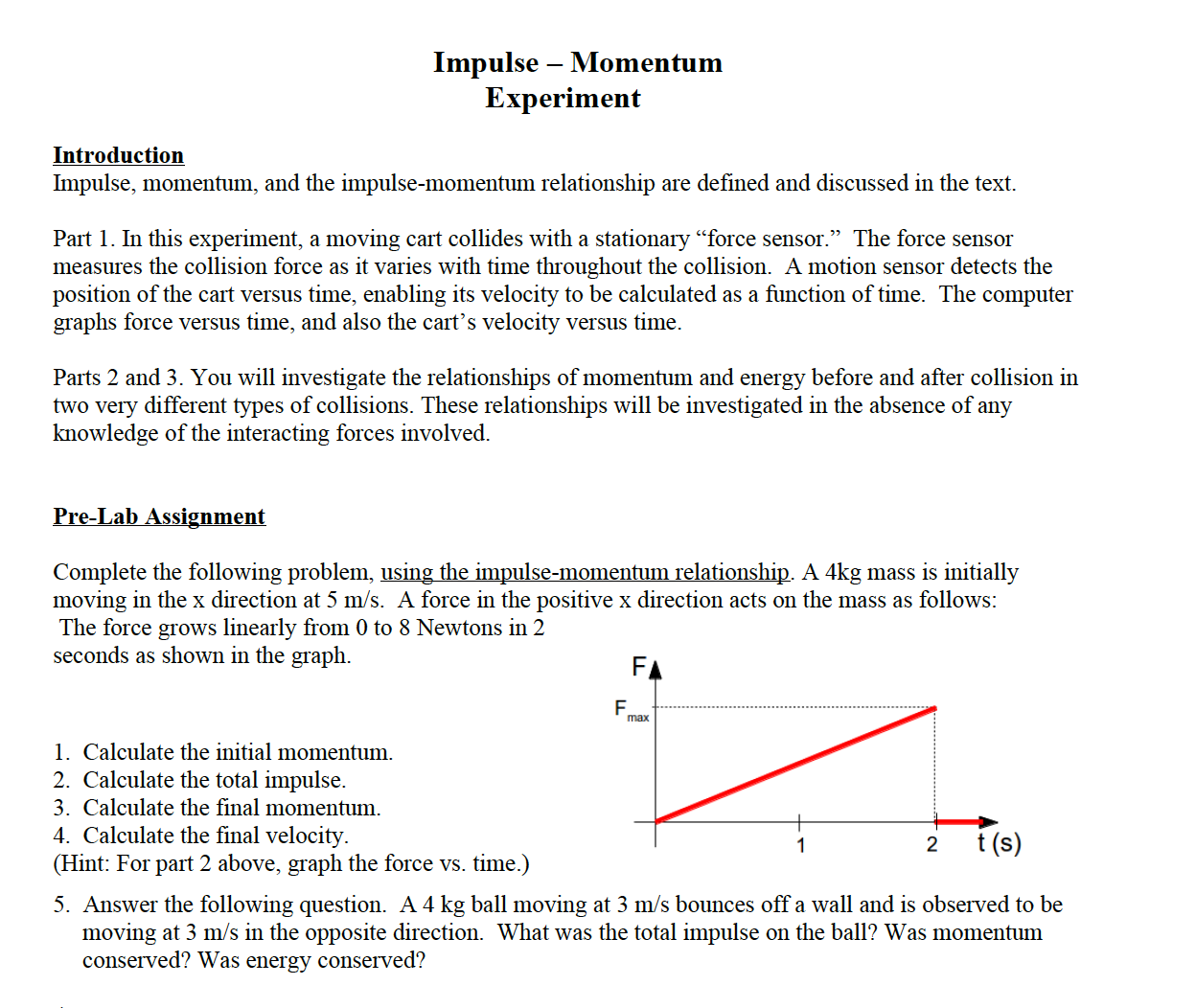 experiment 20 impulse and momentum relationship