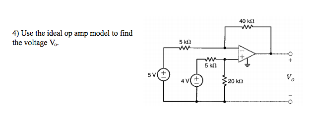Use the ideal op amp model to find the voltage V0.