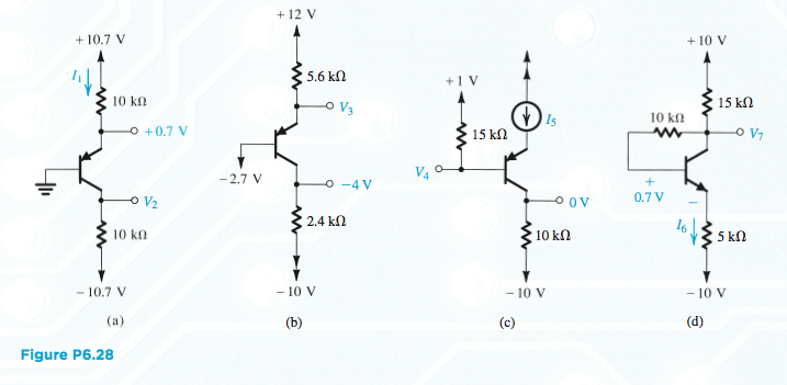 6.28 For the circuits in Fig. P6.28, assume that t