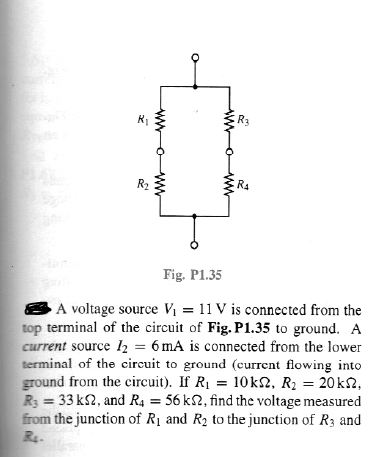 A voltage source V1 = 11 V is connected from the t