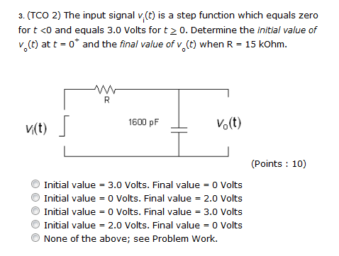 (TCO 2) The input signal vi (t) is a step function