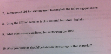 Reference of SDS for acetone used to complete the