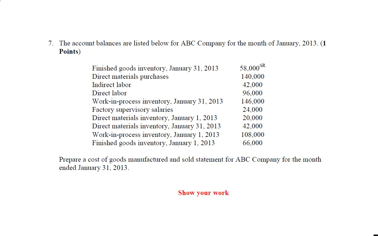 The account balances are listed below for ABC Comp