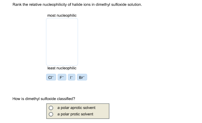 Rank the relative nucleophilicity of halide ions i