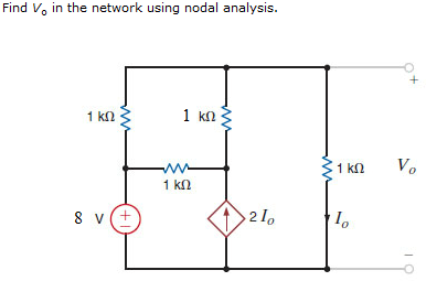 Find V0 in the network using nodal analysis.