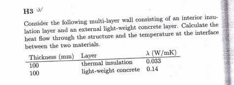 Consider the following multi-layer wall consisting
