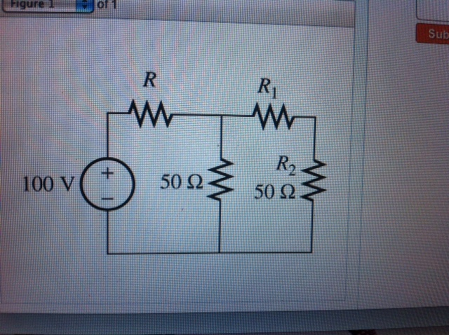 assume that R=40 ohm find the resistance R1 in the