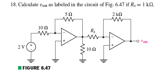 Calculate uout as labeled in the circuit if Rx = 1