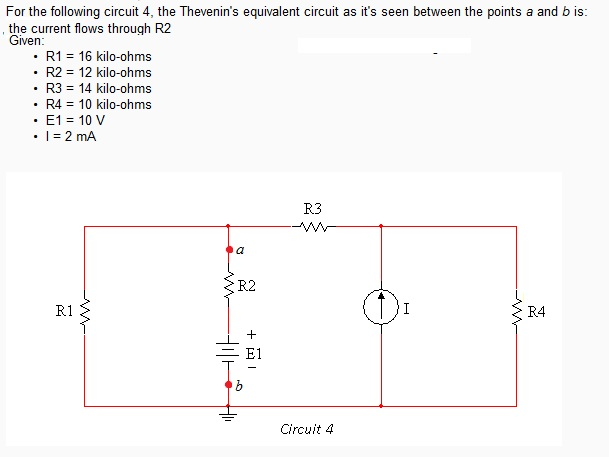 1. what is the the Thevenin's equivalent circuit a