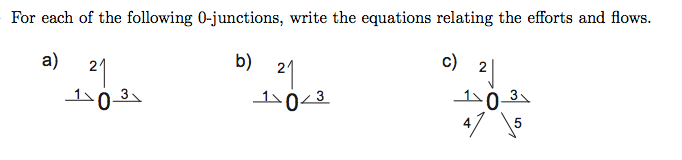 For each of the following 0-junctions, write the e