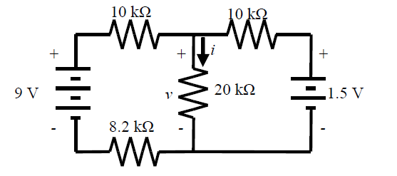 1. Calculate the voltage V across the 20kOhm reist