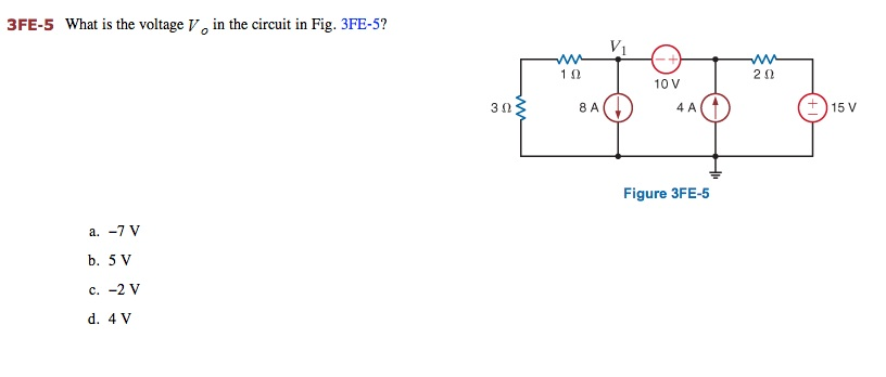 What is the voltage V0 in the circuit in Fig. 3FE-