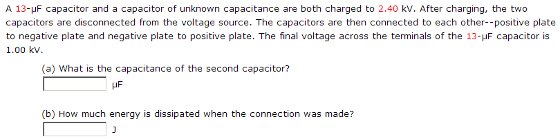 A 13-mu F capacitor and a capacitor of unknown cap