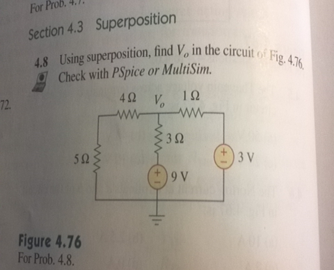 Using superposition, find V0 in the circuit of Fig