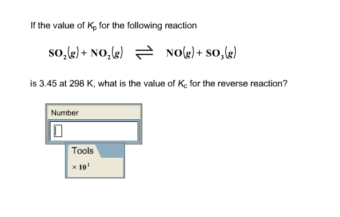 If the value of Kp for the following reaction SO2