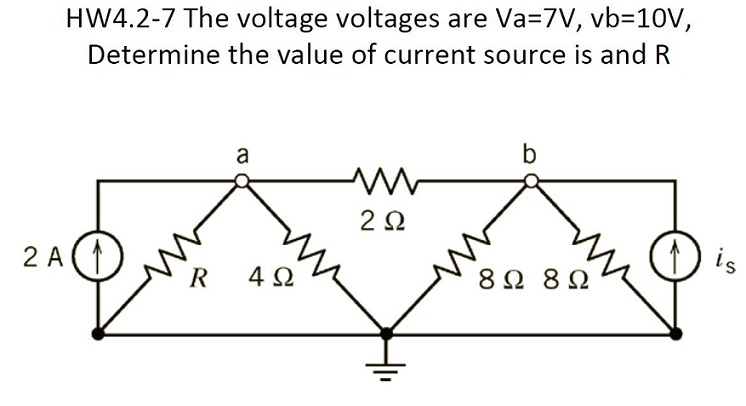 HW4.2-7 The voltage voltages are Va = 7V, vb=10V,