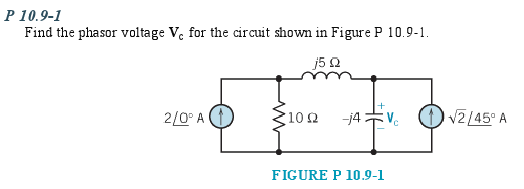 Find the phasor voltage Vc for the circuit shown i