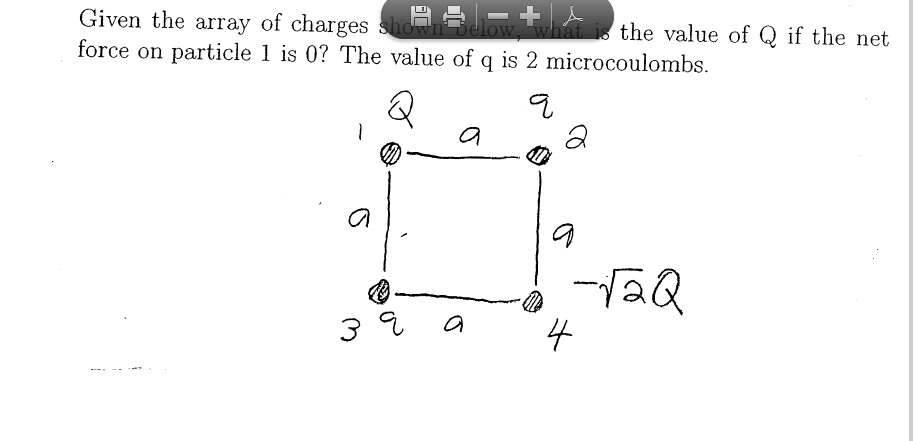 Given the array of charges shown below, what is t