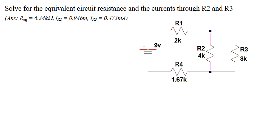 Solve for the equivalent circuit resistance and th