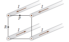 Four long parallel wires pass through the corners