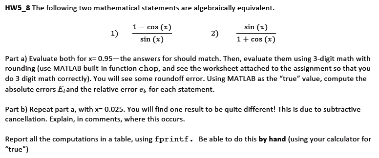The following two mathematical statements are alge