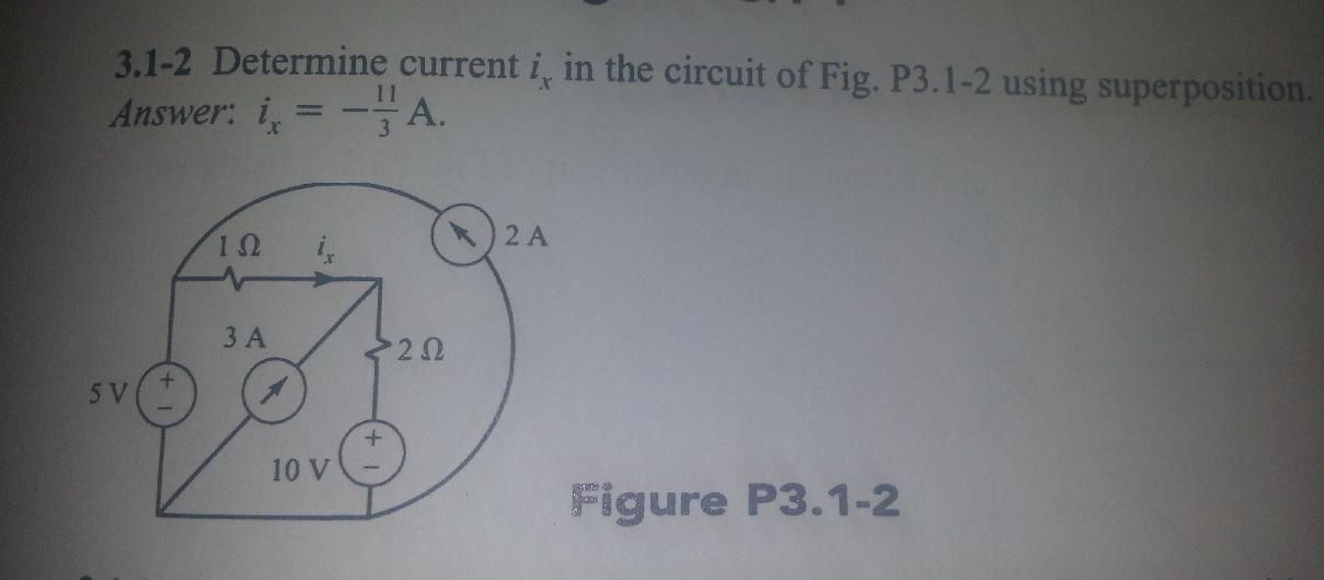 Determine current ix in the circuit of Fig. P3.1-2