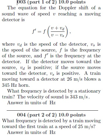 The equation for the Doppler shift of a sound wave