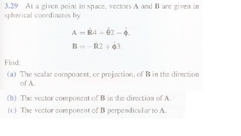 At a given point in space, vectors A and B are giv