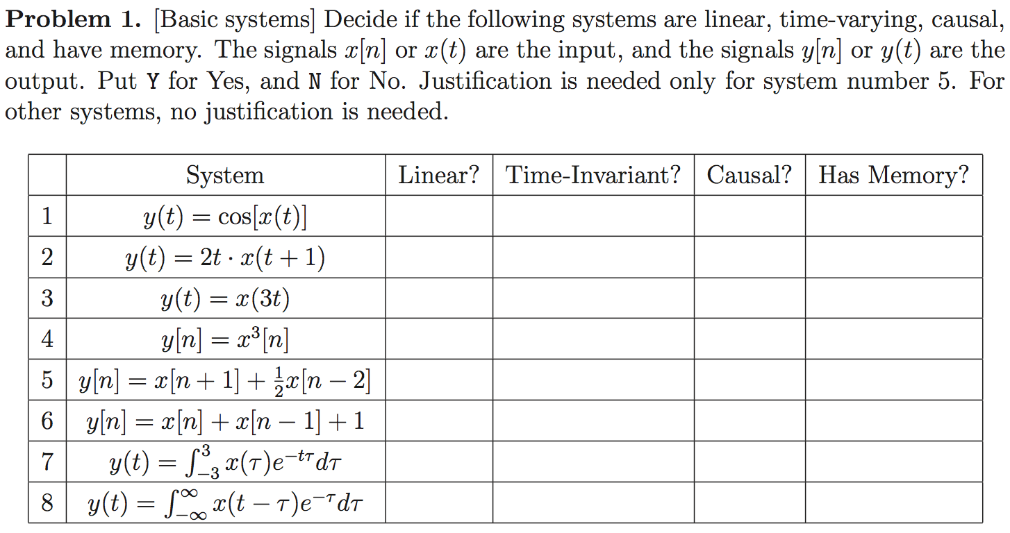Decide if the following systems are linear, time-v
