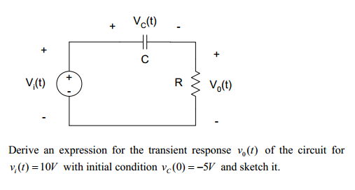Derive an expression for the transient response v0