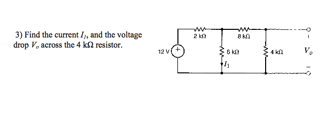 Find the current I1, and the voltage drop V0 acros
