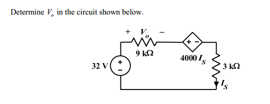 Determine V0 in the circuit shown below.