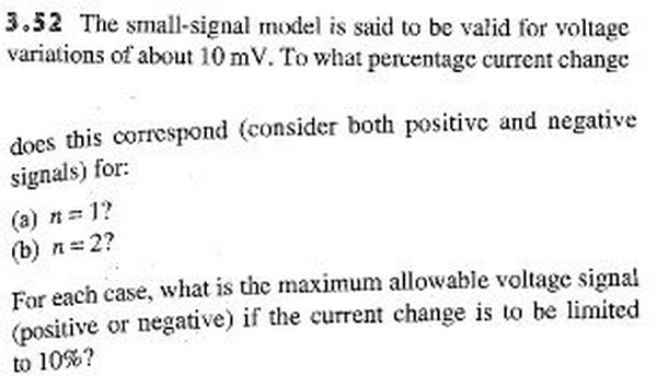 The small-signal model is said to be valid for vol